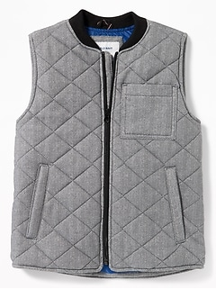 Lightweight Quilted Herringbone Zip Vest for Boys