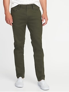 Slim Built-In Tough All-Temp Twill Five-Pocket Pants for Men