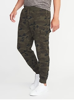 Tapered Camo Cargo Joggers for Men