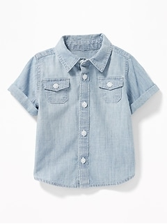 Rolled-Cuff Chambray Shirt for Baby