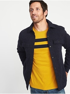 Sweater-Fleece Shirt Jacket for Men