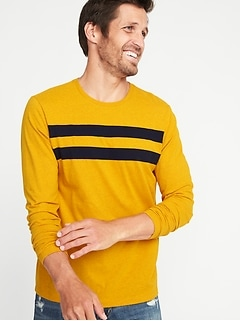 Pieced Chest-Stripe Crew-Neck Tee for Men
