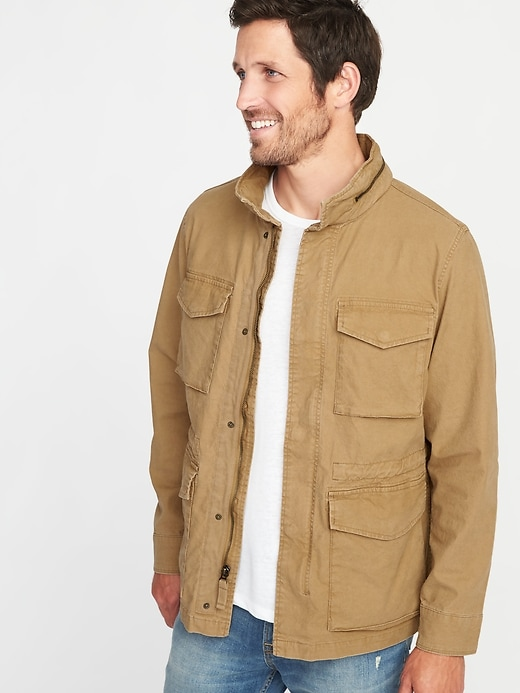 Canvas Built-In Flex Stowaway-Hood Men's Military Jacket