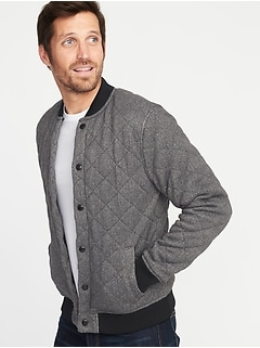 Quilted Sweater-Fleece Bomber Jacket for Men