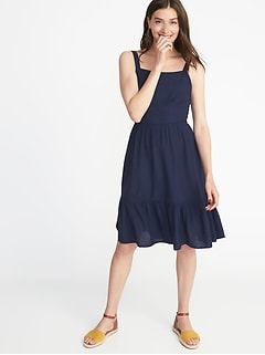 Apron-Front Fit & Flare Dress for Women