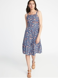 Floral Apron-Front Fit & Flare Dress for Women