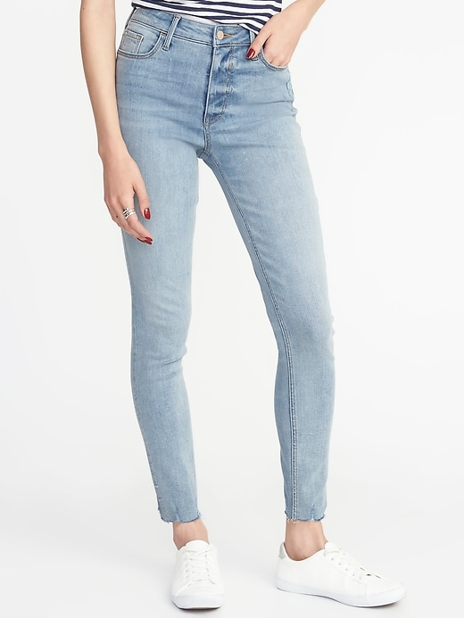 High Rise Secret Slim Raw Edge Rockstar Jeans by Old Navy