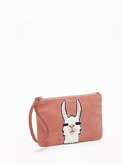Llama-Graphic Corduroy Wristlet for Women