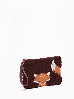 Fox-Graphic Sherpa Wristlet for Women