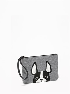 Dog-Graphic Felt Wristlet for Women