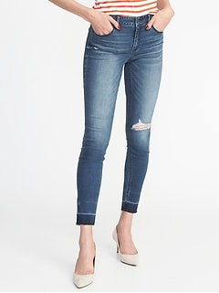 Mid-Rise Distressed Rockstar Super Skinny Ankle Jeans for Women