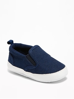 Sueded Perforated Slip-Ons for Baby