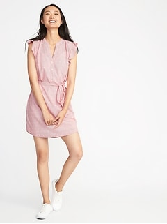 Clip-Dot Tie-Belt Shirt Dress for Women