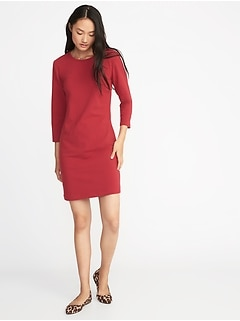 Fitted Crew-Neck Jersey Tee Dress for Women