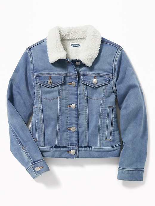 Sherpa Lined Denim Trucker Jacket For Girls by Old Navy