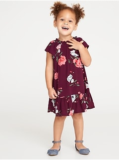 Ruffle-Hem Floral Dress for Toddler Girls