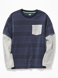 2-in-1 Crew-Neck Pocket Tee for Boys