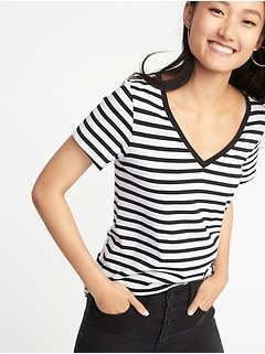 EveryWear Curved-Hem V-Neck Tee for Women
