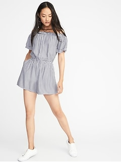 Waist-Defined Tiered-Sleeve Romper for Women