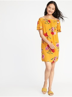 Off-the-Shoulder Ruffle-Sleeve Shift Dress for Women