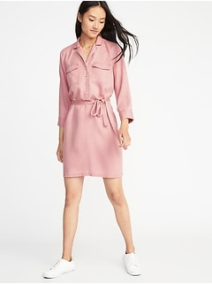 Utility Tie-Belt Shirt Dress for Women