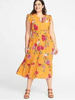 Tie-Belt Plus-Size No-Peek Midi Shirt Dress
