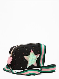Sequin Star-Patch Canvas Bag for Girls