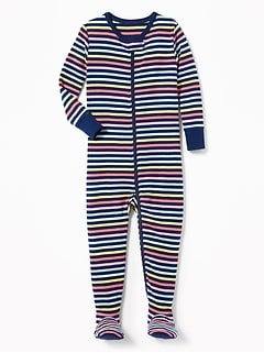 Striped Footed Sleeper for Toddler Girls & Baby