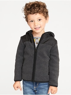 Color-Block Micro Performance Fleece Hooded Jacket for Toddler Boys