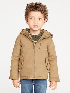 Hooded Canvas Utility Jacket for Toddler Boys