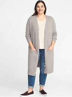 Super-Long Open-Front Plus-Size Thick-Knit Marled Sweater