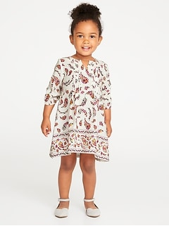 Pintuck A-Line Dress for Toddler Girls