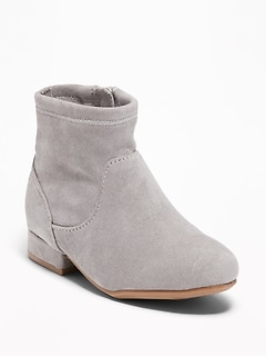 Faux-Suede Stretch Sock Boots for Toddler Girls