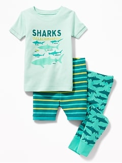 Shark-Graphic 3-Piece Sleep Set for Toddler & Baby