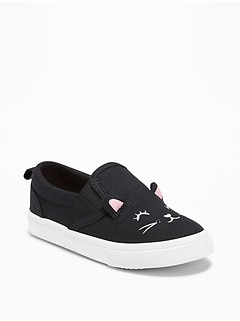 Black Cat Canvas Slip-Ons For Toddler Girls