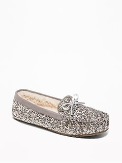 Glitter Sherpa-Lined Moccasin Slippers for Women