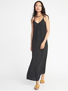 Printed V-Neck Maxi Shift Dress for Women