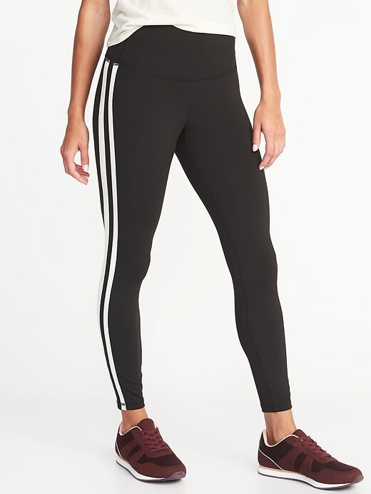 High-Rise Side-Stripe 7/8-Length Compression Leggings