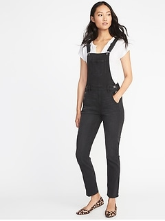 Straight Black-Wash Denim Overalls for Women