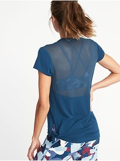 Mesh-Back Side-Tie Performance Top for Women