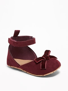 Sueded Velvet Bow-Tie Flats for Baby
