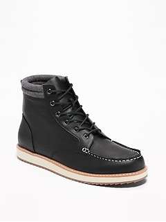 Faux-Leather Moc Boots for Men