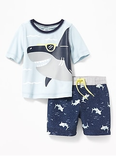 Shark-Graphic Rashguard & Printed Trunks Set for Baby