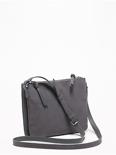 Dual-Zip Faux-Leather/Faux-Suede Crossbody Bag for Women