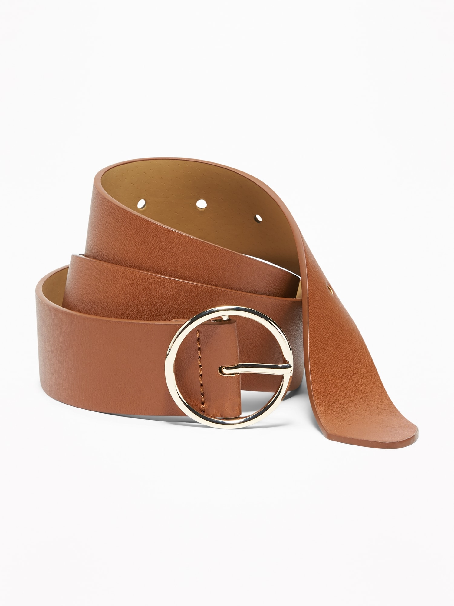da69e30cd Wide Ring-Buckle Faux-Leather Belt for Women (1 1 2