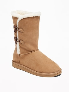 Tall Faux-Suede Toggle Adoraboots for Girls