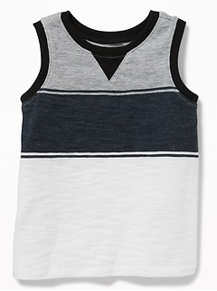 Color-Block Stripe Slub-Knit Tank for Toddler Boys