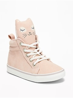 Sueded Kitty High-Top Sneakers for Toddler Girls