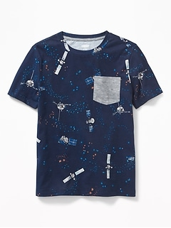 Space-Print Pocket Tee for Boys