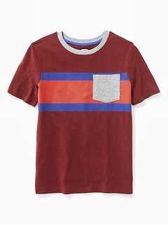 Retro-Stripe Pocket Tee for Boys